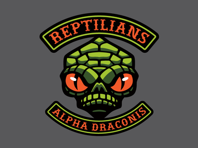 Reptilians - Cryptid Biker Patch creature monster biker motorcycle patch cryptid