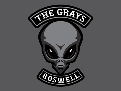 """""""The Grays"""" - Cryptid Biker Patch (Aliens) creature monster cryptid patch alien motorcycle biker"""