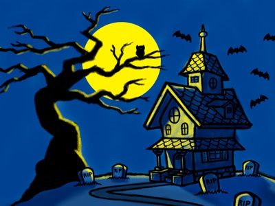 Haunted house cartoon landscape illustration coghill