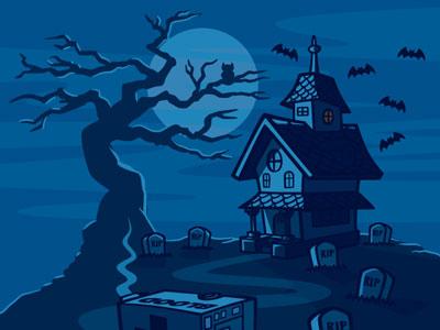 Haunted house cartoon landscape illustration 02 coghill