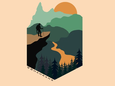 Land scape minimal flat vector design illustration