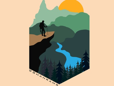 Land scape illustration illustrator graphic design clean art vector minimal illustration flat design