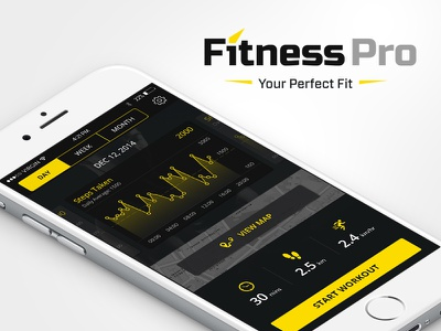 'Fitness Pro' concept iphone app interface ui ux graph mobile health dashboard workout exercise fitness wear fitness app application interface user experience