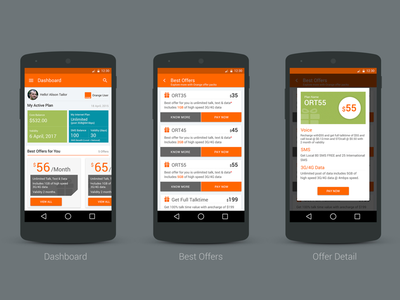 Dashboard design for cellular company with best plans. dashboard visual design recharge app best offers offers recharge app design orange ux ui andrid