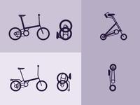 Folding bikes icons