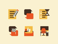 Icon set for a content support
