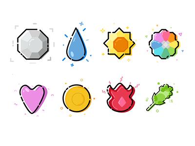 Pokemon Badges colorful icon badge pokemon