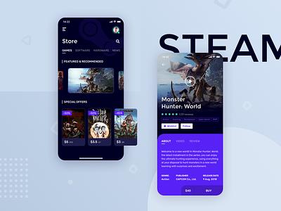 Steam app redesign steamapp games store purples redesign steam app
