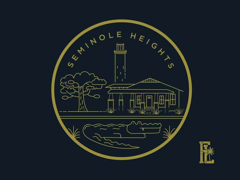 The Identity Concept | Seminole Heights usf temple terrace south tampa hyde park st. petersburg tampa bay neighborhood culture water live oak line art typography aligator bungalow heights seminole tampa florida