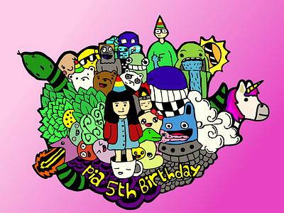 Via kids female character doodle doodle art raster illustration