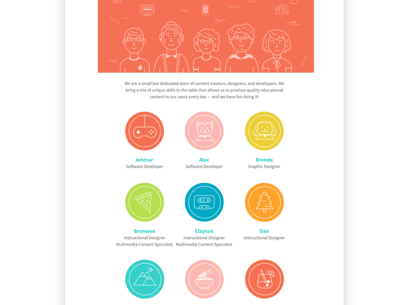 Meet the Staff Page Design website avatar icons icon flat illustration vector ui meet the team staff design