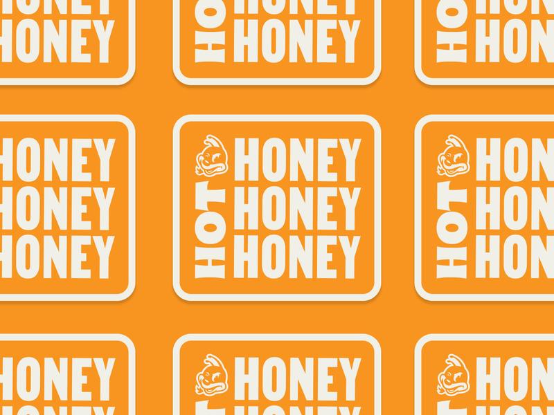 Hot Honey Sticker typohraphy bee honeybee stickers hot honey honey hot branding