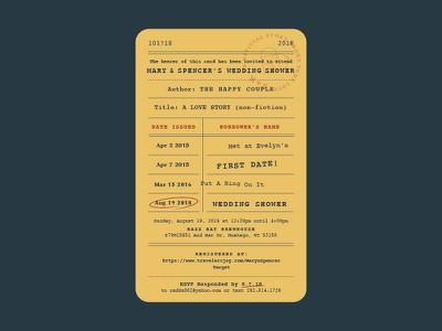 Library Card Invitation shower wedding invitation card library