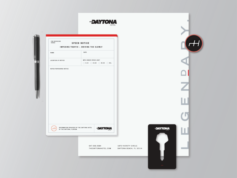 The Daytona Hotel Branding hotel notepad pen pin letterhead keycard keys car nascar flordia racing daytona