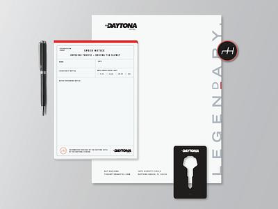 The Daytona Hotel Branding hotel notepad pen pin letterhead keycard keys car nascar flordia racing daytona