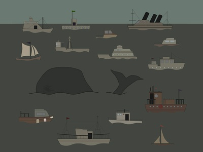 Boats  and a Whale