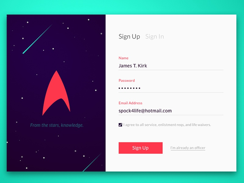 Day 001 - Starfleet Sign Up sign in log in pop up star trek sign up modal starfleet login space