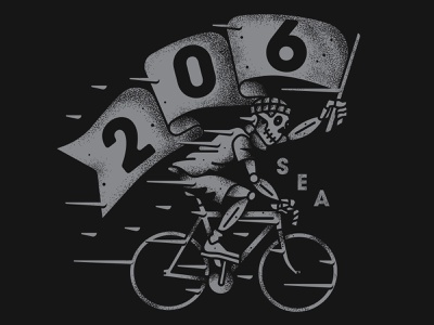 From the 206! seattle skeleton fixed gear flag bike