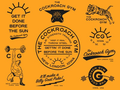The Cockroach Gym cockroach gym strength logo badge anvil tiger weightlifting