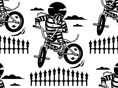 """Jailbreak"" illustration bmx bike bikes bunnyhop jail bmx"