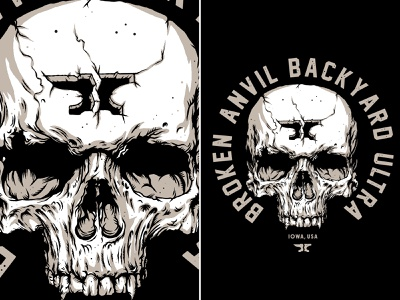 Broken Anvil Skull lockup anvil logo branding skull