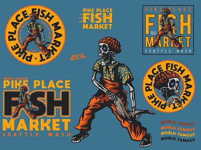 Pike Place Fish Market badges seattle fish skull