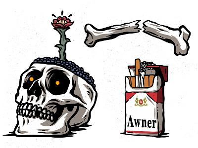 Skull n' Cigs cigarettes flower skull