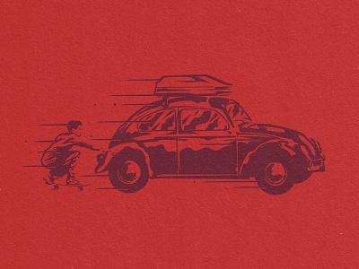 Skitchin' skitch skateboarding volkswagon beetle