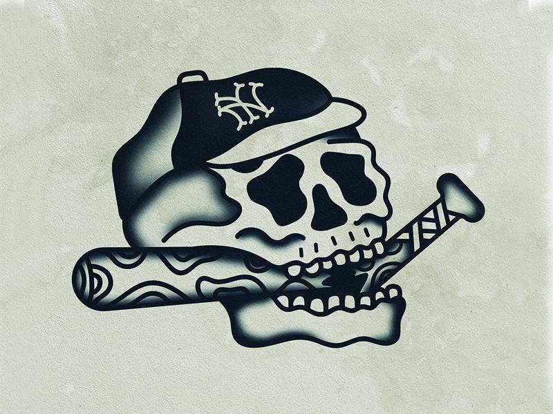 It Never Sleeps! baseball tattoo skull nyc