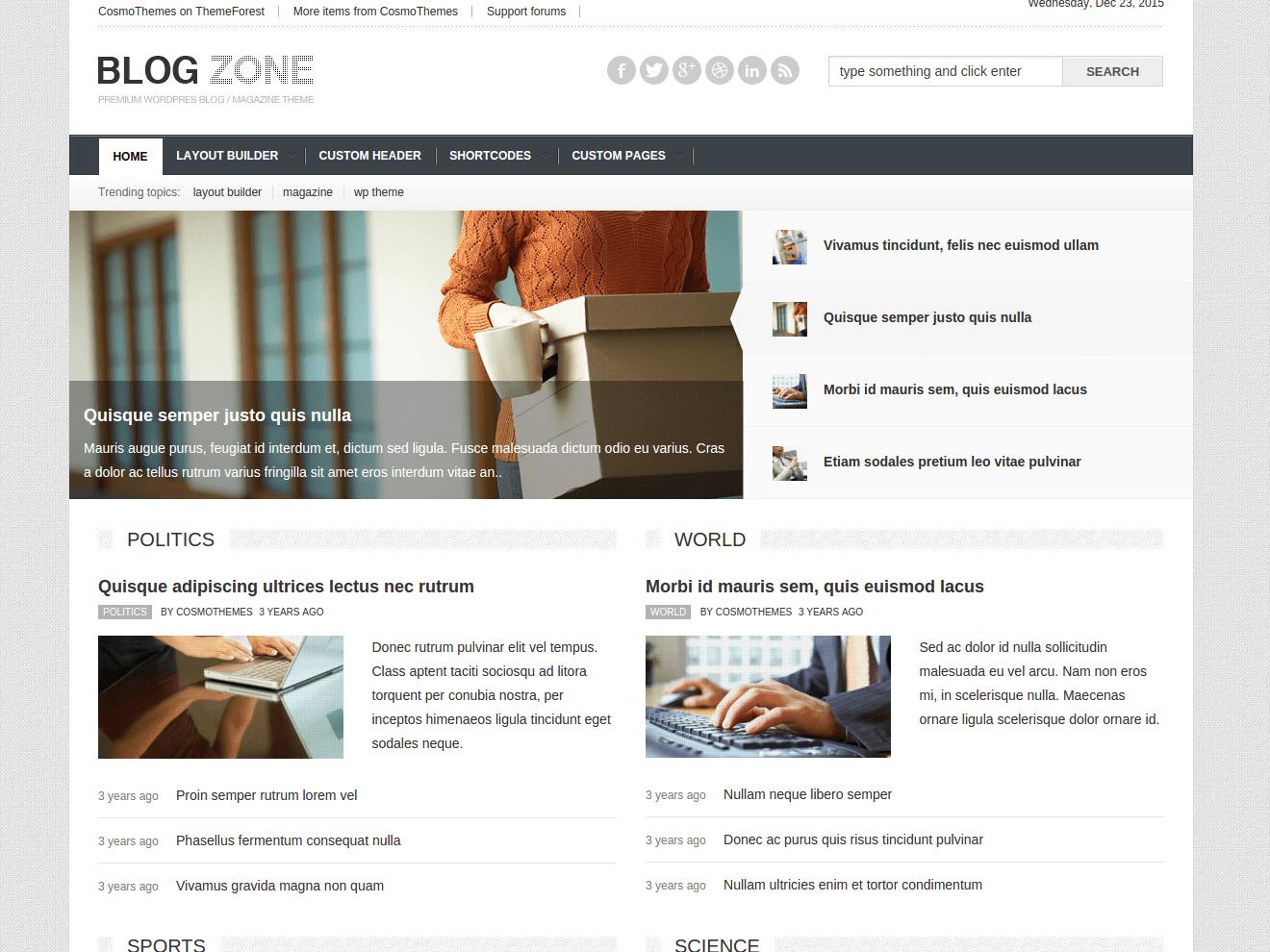 Blogzone - Mainpage wordpress news theme wordpress blog theme