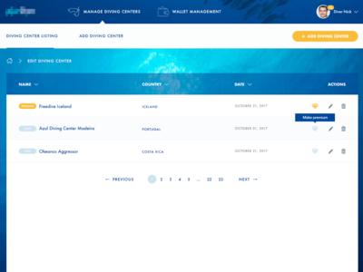 Diving Center user management
