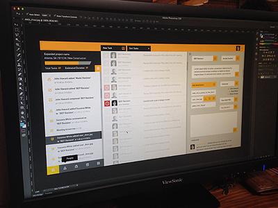 Application currently in development design ui ux yellow profile task menu modal notification progress button