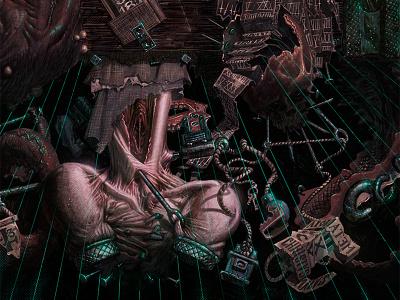 Meatanoia matthewglewis lostkeep art illustration horror macabre monster demon halloween occult alchemy