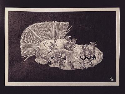 Melankolia traditional design typography ink pencil macabre horror illustration art lostkeep matthewglewis