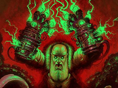 poppsputin digital rasputin hellboy lovecraft poster character conceptart halloween scary macabre demon monster matthewglewis lostkeep art horror illustration