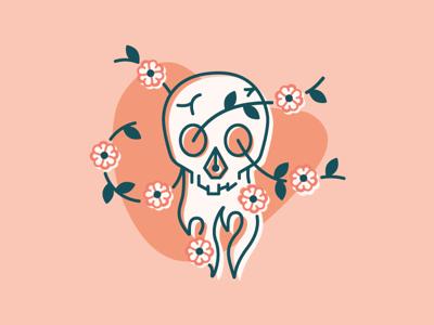 Death by Design inspiration flowers skull vector illustration design
