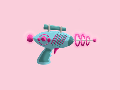 Pew, pew — Ray gun doodle hand drawn design illustration