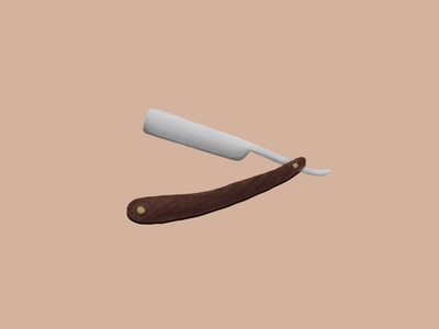 Straight Razor barber metal wood design illustration
