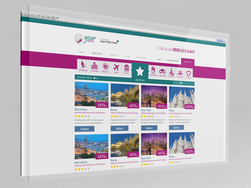 Offer page with a simple filter website simple offers desktop ui travel icons filter
