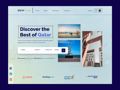 Travel And Hotel Booking Landing Page minimal ui saas ux design travel travel agency website web design web de travel landing page home page landing page uiux qatar hotel tourism
