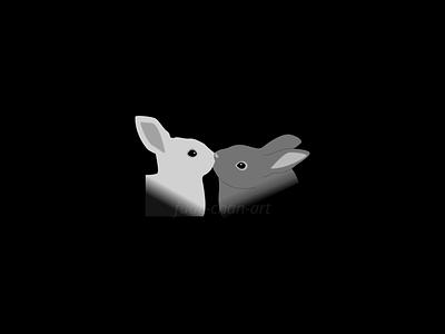 Bunny Kiss kiss bunny love cute vector redbubbleshop redbubble print illustration fudechanart design