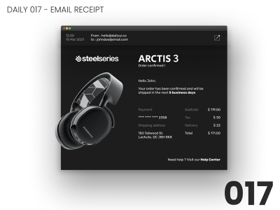 Daily UI #017 - Email receipt design steelseries 017 daily ui dailyui ui 100daychallenge