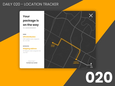Daily UI #020 - Location tracker ship package user experience user interface 020 tracking app orange yellow shipped shipper location tracking design daily ui dailyui ui 100daychallenge