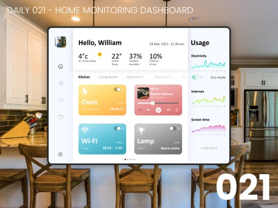 Daily UI #021 - Home monitoring dashboard homepage design ipad daily 021 design ui dailyui daily ui home 100daychallenge