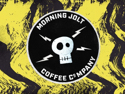 Morning Jolt circle logo handdrawn photoshop lightning bolt lightning skull logo skull grunge morning jolt sticker coffee sticker coffee shop coffee badge logo logo badge branding illustration