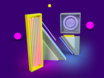 36DaysOfType - N graphic poland sqares circles challenge chill balls adobedimension shapes abstract studio neon design letter lettering letter art 36days 36daysoftype07 36daysoftype