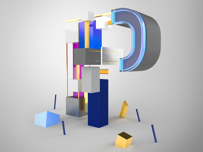 36DaysOfType - P shape gold abstract creative lettering graphic studio minimal design adobedimension dimensions 3d letter art letters 36daysoftype07 36daysoftype