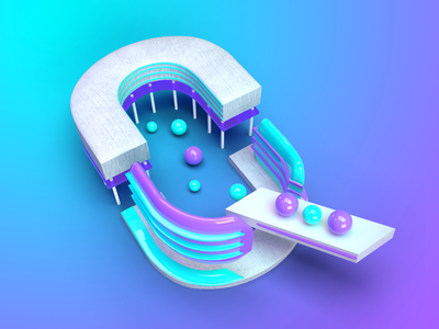 36DaysOfType - Q creative desig studio 3d letter 3d art 3d typography typo minimalizm abstraction shapes plastic custom letter lettering 36daysoftype07 36daysoftype