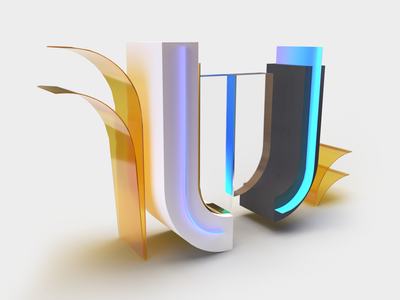 36DaysOfType - Day 21 - letter U font digital clean art 3d artist creative design typography custom typo 3d art creative abstract 3d illustration studio 36daysoftype 36daysoftype07 lettering poland minimal design