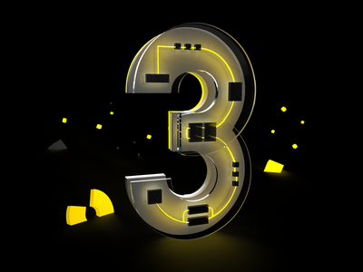 36DaysOfType - day 30 - 3 3d art neon yellow gold adobe dimension render letter typography poland design 3d minimal lettering studio creative 36daysoftype07 36daysoftype